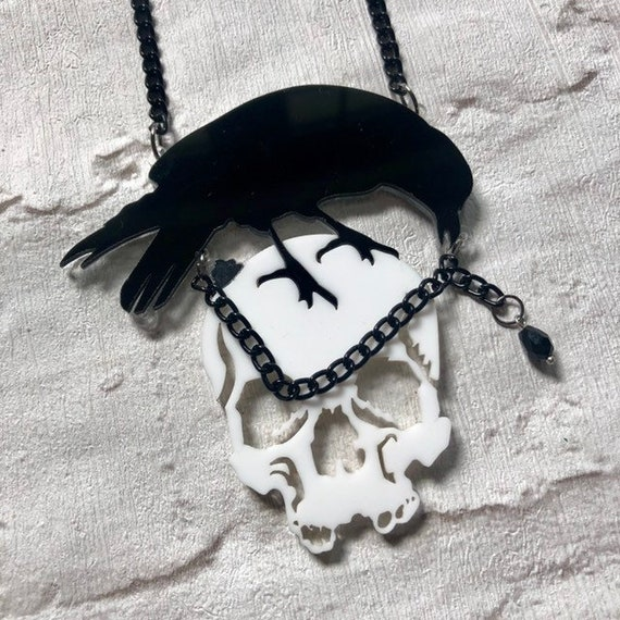 Acrylic Skull and Crow Necklace Rockabilly Pinup Inspired