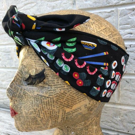 Sushi Retro Headscarf Rockabilly Pinup 1950's  inspired