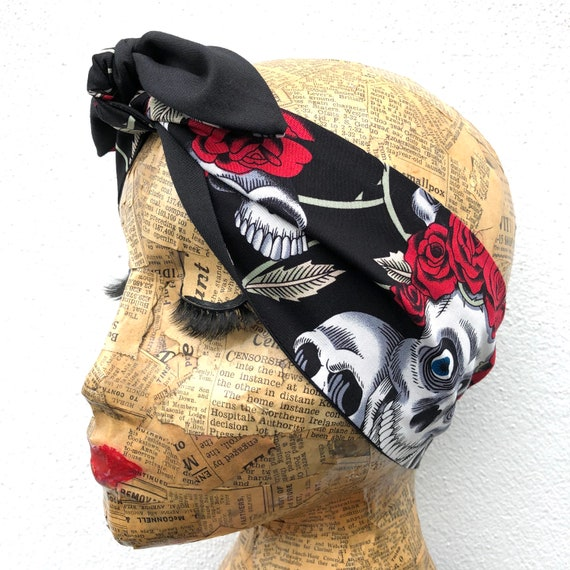 Skull And Roses Headacarf Rockabilly Pinup 1950's Inspired