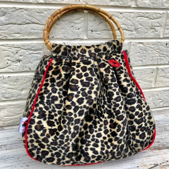 Faux Fur Leopard Print handbag Rockabilly Pinup 1950's Inspired