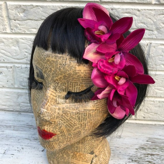Pink Hair Flower Rockabilly Pinup 1950s Inspired