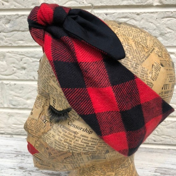 Red and Black check Plaid Headscarf Rockabilly Pinup 1950's Inspired