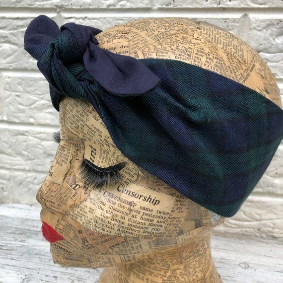 Blackwatch Tartan Headscarf Rockabilly pinup 1950's inspired