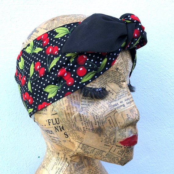 Cherry And Polka Dot   Headscarf Rockabilly Pinup 1950's Inspired