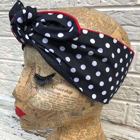 Black Polka Dot with Red Piping  Headacarf Rockabilly Pinup 1950's Inspired