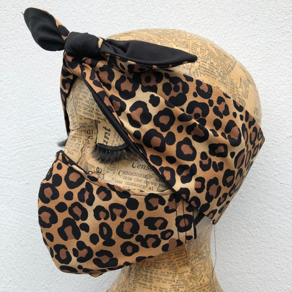 Leopard Print Headscarf And Face Mask Set