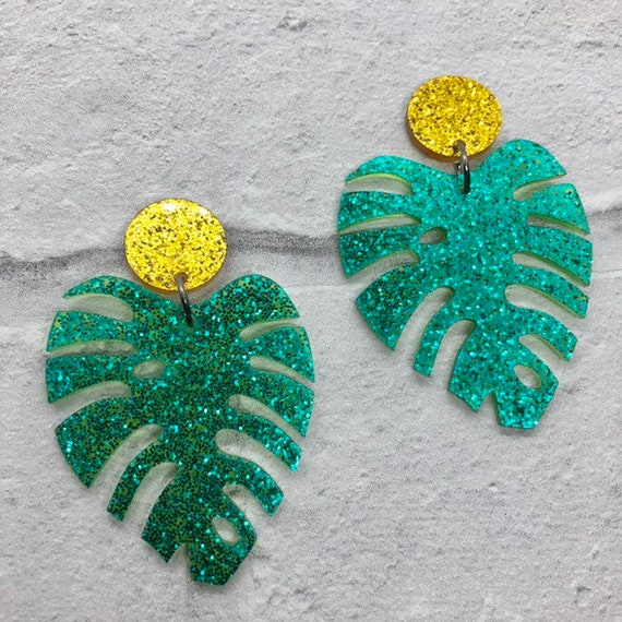 Green Glitter Palm Leaf Acrylic Earrings Rockabilly Pinup 1950s Inspired