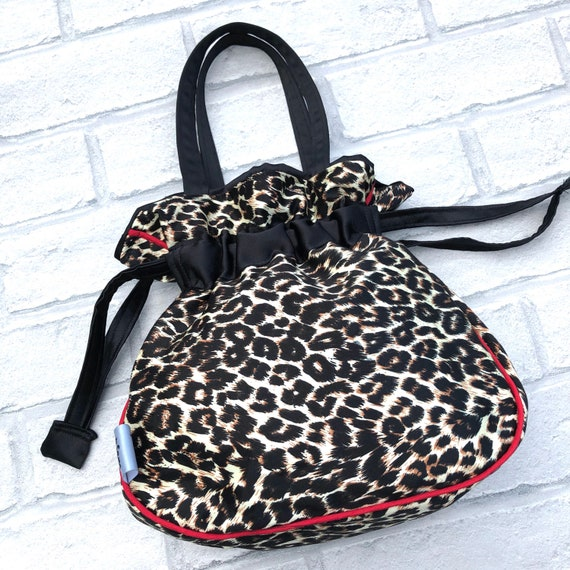 Leopard Print And Satin Drawstring Handbag Rockabilly Pinup 1950's Inspired