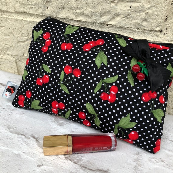 Cherry Cosmetic Bag Rockabilly Pinup 1950's Inspired