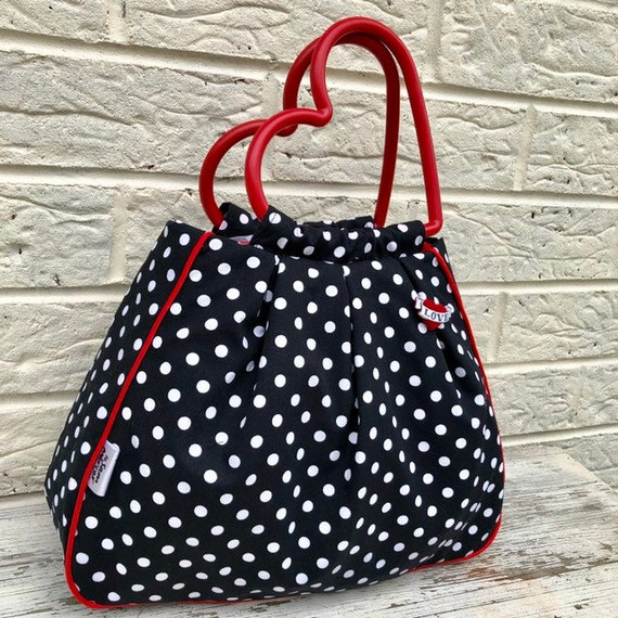Black and White Polka Dot Handbag  Rockabilly Pinup 1950's Inspired
