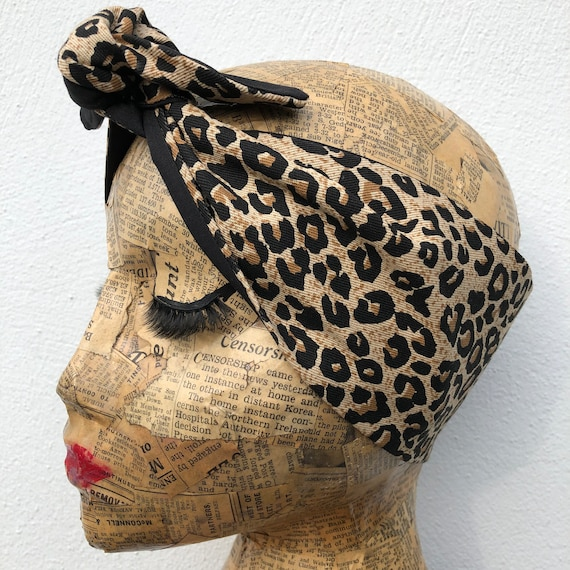 Leopard Print Headscarf Rockabilly Pinup 1950's Inspired