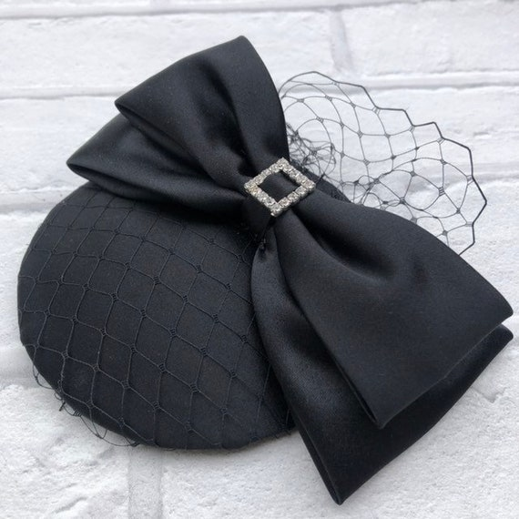 Black Duchess Satin Fascinator Rockabilly Pinup 1950's inspired