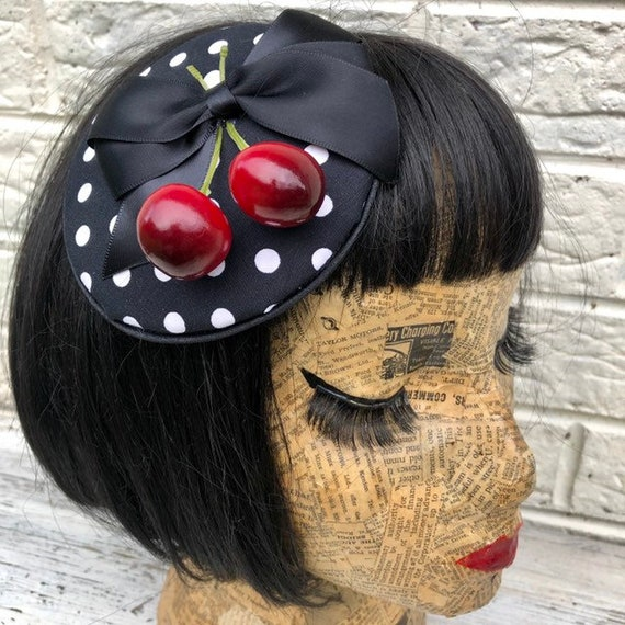 Black and White Polka Dot and Cherry Fascinator Rockabilly Pinup 1950s Inspired