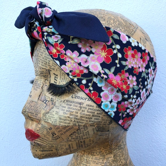 Cherry Blossom Headscarf Rockabilly Pinup 1959's Inspired