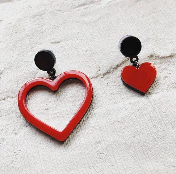 Red Love Heart Acrylic Dangle Earrings Rockabilly Pinup inspired