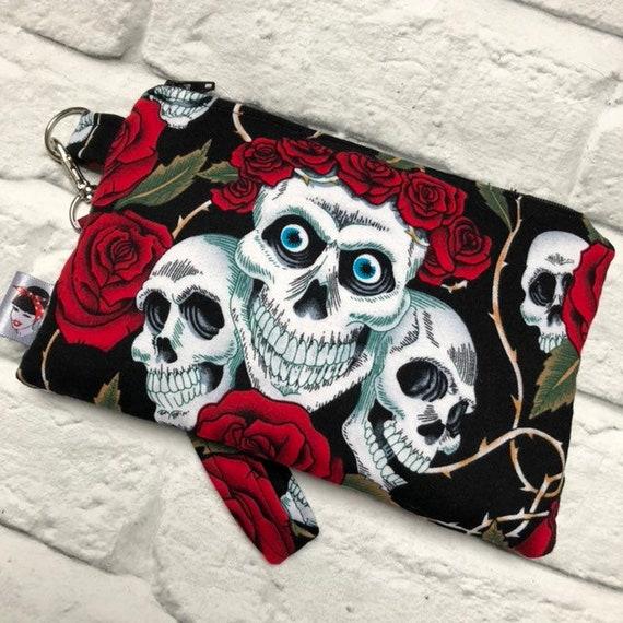 Skulls And Roses Clutch Bag Rockabilly Pinup 1950s Inspired