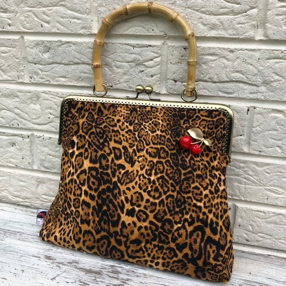 Leopard Print Bamboo Handle Bag Rockabilly Pinup 1950's Inspired