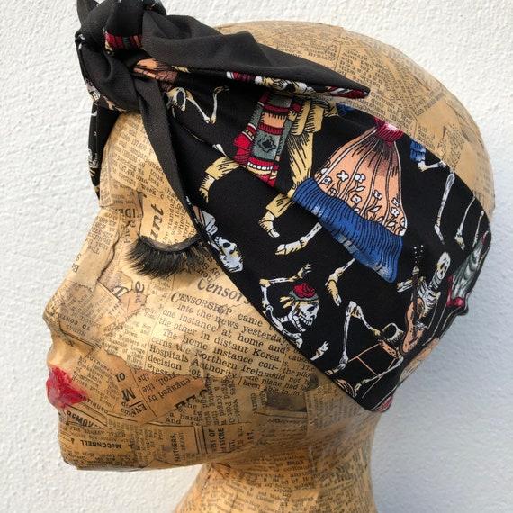 De Los Muertos Skeleton Headscarf Rockabilly Pinup 1950's Inspired