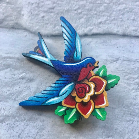 Swallow and Rose Tattoo Pin Rockabilly Pinup 1950s Inspired