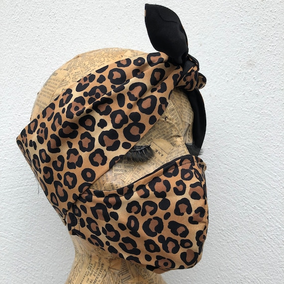 Leopard Print Headscarf and Double Layered Face mask Set