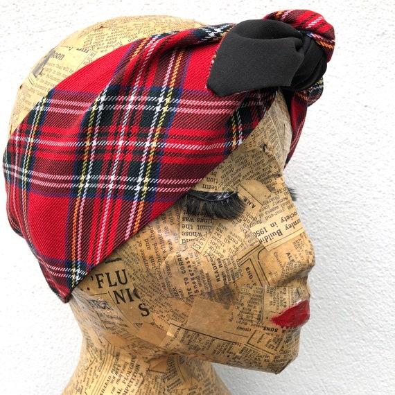 Royal Stewart Tartan Headscarf Rockabilly Pinup 1950's Inspired