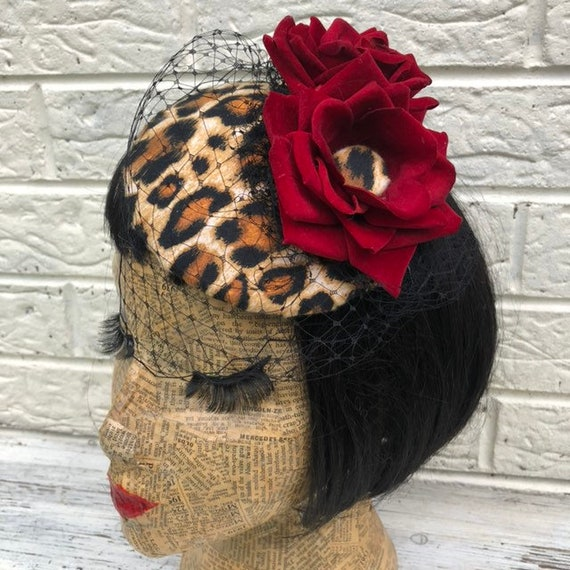 Leopard Print and Red Rose Fascinator Rockabilly Pinup 1950s Inspired