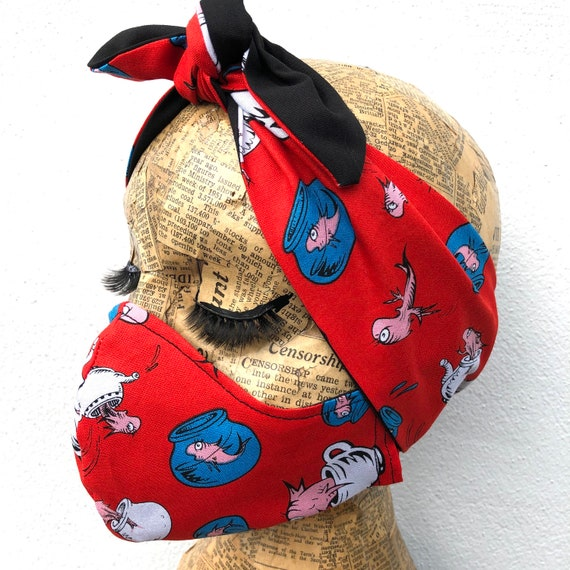 Dr Seuss Inspired  Headscarf And Double Layered Face Mask Set