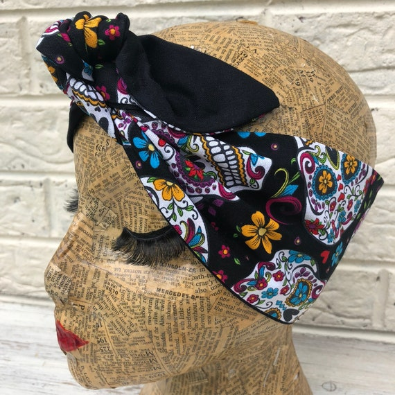 Sugar Skulls Headscarf Rockabilly Pinup 1950's Inspired