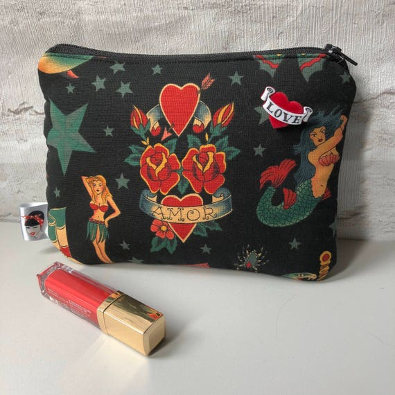 Tattoo Love Cosmetic Make Up Bag