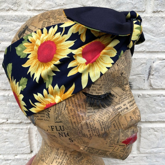 Sunflower Headscarf Rockabilly Pinup 1950's Inspired