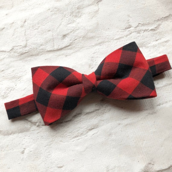 Red And Black Check Print Bow Tie