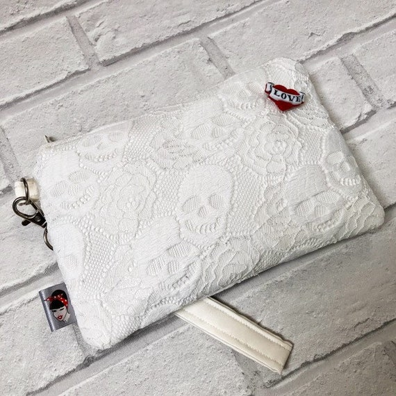 Bridal Skull Lace and Satin clutch Bag Wristlet Rockabilly Pinup 1950s Inspired