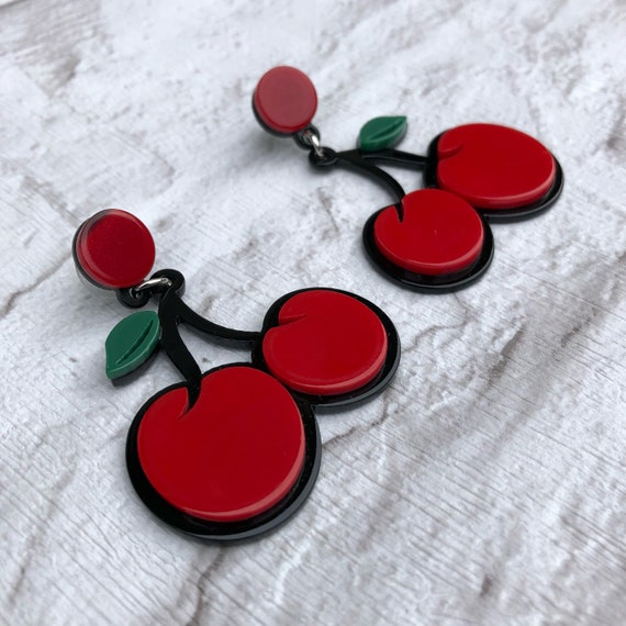 Cherry Acrylic drop Earrings Rockabilly Pinup 1950's Inspired