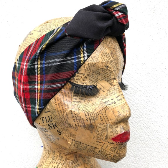 Black Tartan Headscarf Rockabilly Pinup 1950's inspired