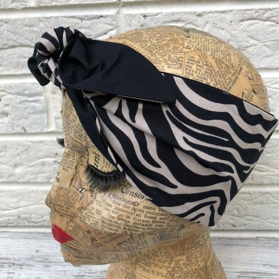 Zebra Print Headscarf Rockabilly Pinup 50's inspired