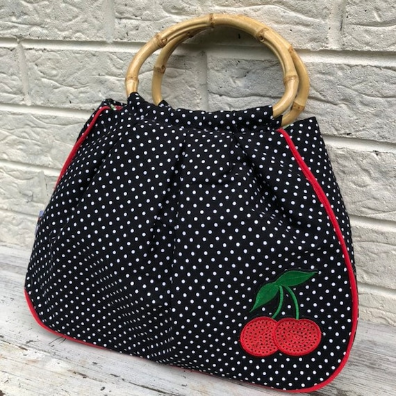 Black and White Polka dot and Cherry handbag Rockabilly Pinup 1950's Inspired