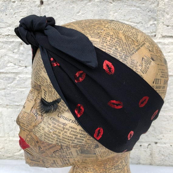 Red Lips Dita Headscarf Rockabilly Pinup 1950's Inspired