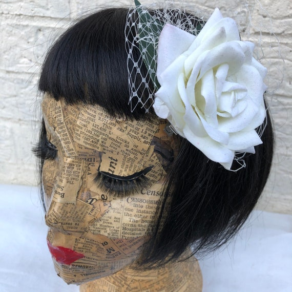 Ivory Rose Hair Clip Rockabilly Pinup 1950's Inspired
