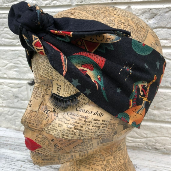 Tattoo Headscarf Rockabilly Pinup 1950s Inspired
