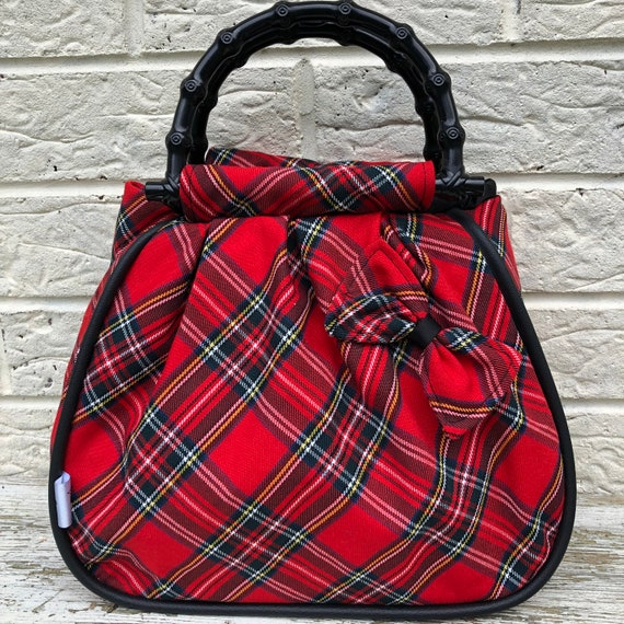 Red Tartan Handbag Rockabilly Pinup 1950's inspired