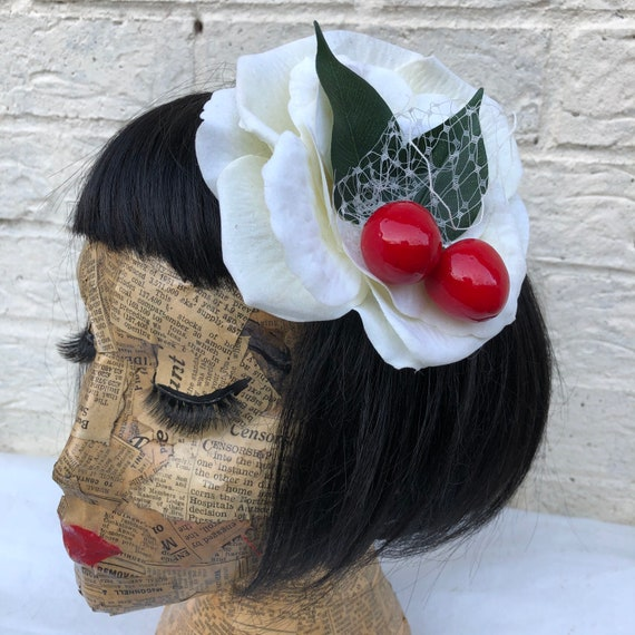 Ivory And Cherry Hair Flower Rockabilly Pinup 1950's Inspired