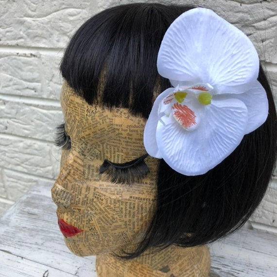 White Orchid Hair Flower Rockabilly Pinup 1950's Inspired