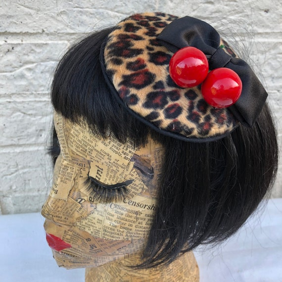 Leopard Print and Cherry Fascinator Rockabilly Pinup 1950's Inspired