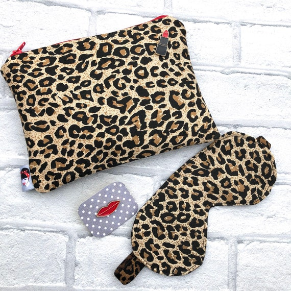 Leopard Print Cosmetic Makeup bag , Sleep Mask And Lips Pin Rockabilly Pinup 1950's Inspired