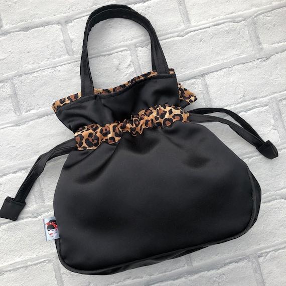 Black Duchess Satin and Leopard Print Drawstring Handbag Rockabilly Pinup 1950's Inspired