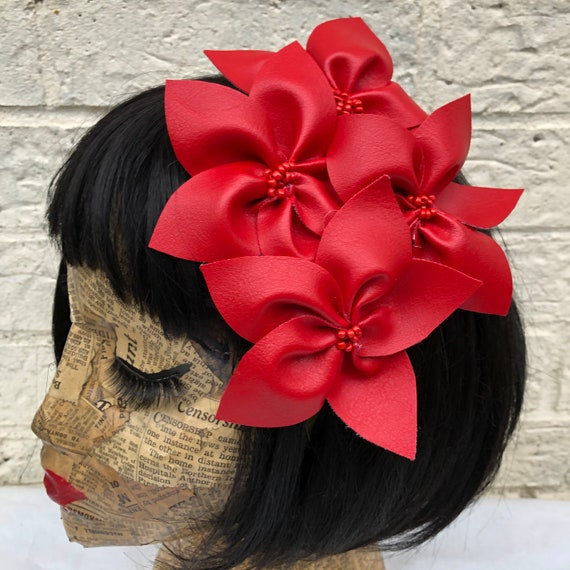 Red Faux Leather flower Hair Clip Rockabilly Pinup 1950's Inspired