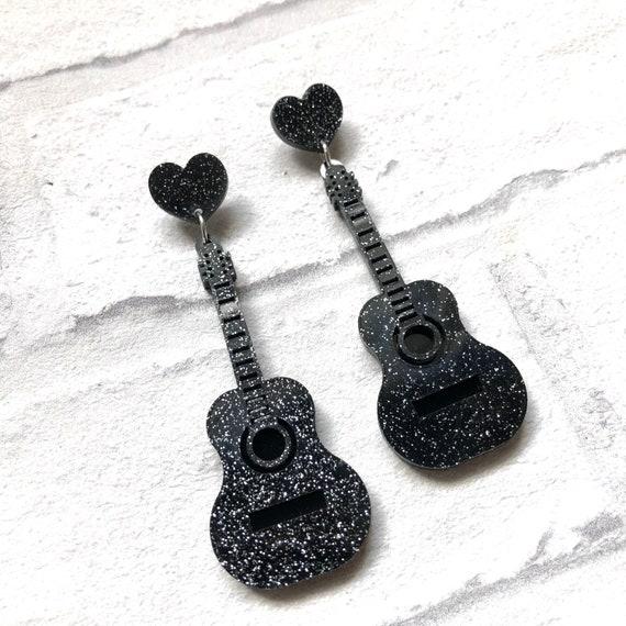 Black Glitter Acrylic Guitar Earrings Rockabilly Pinup Inspired