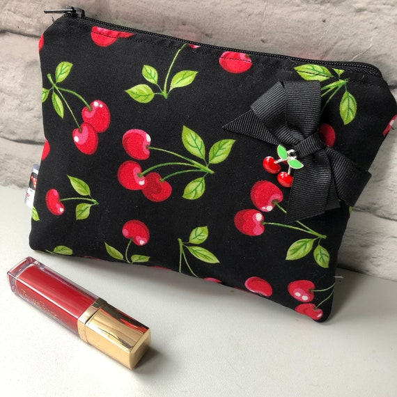 Cherry  Print Cosmetic Makeup Bag Rockabilly Pinup