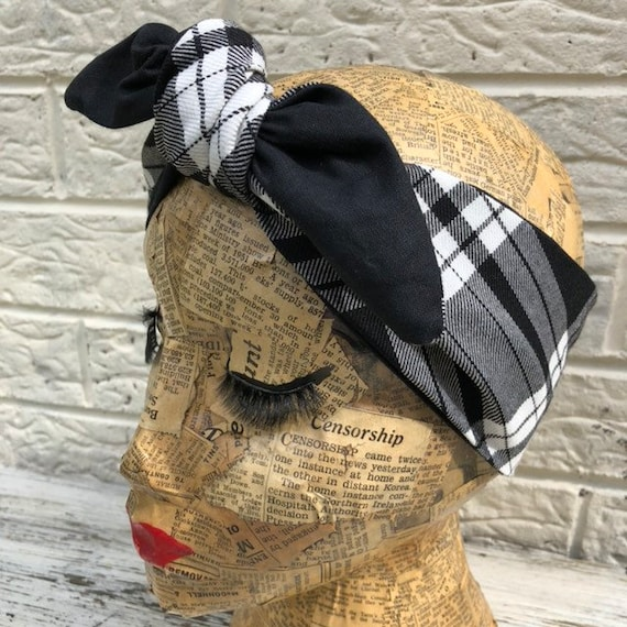 Black and White Tartan Reversable Headscarf Rockabilly Pinup 1950's Inspired