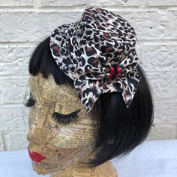 Leopard Print Mini Hat Rockabilly Pinup 1950's Inspired
